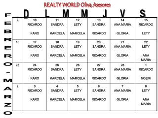 REALTY WORLD Oliva Asesores