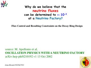 Why do we believe that the  neutrino fluxes can be determined to  +-  10 -3