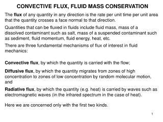 CONVECTIVE FLUX, FLUID MASS CONSERVATION