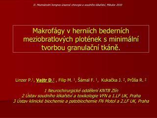 Linzer P. 1 ,  Vajtr D . 2  , Filip M.  1 , Šámal F.  1 ,  Kukačka J.  2 , Průša R.  2