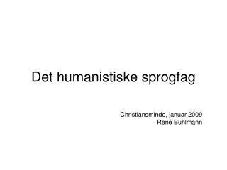 Det humanistiske sprogfag