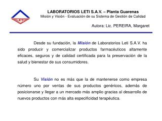 LABORATORIOS LETI S.A.V. � Planta Guarenas
