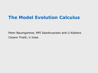 The Model Evolution Calculus