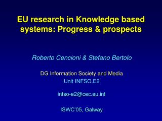 EU research in Knowledge based systems: Progress & prospects