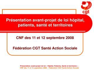 Présentation avant-projet de loi hôpital, patients, santé et territoires