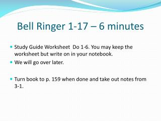 Bell Ringer 1-17 � 6 minutes