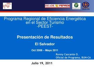 Programa Regional de Eficiencia Energética en el Sector Turismo -PEEST- Presentación de Resultados