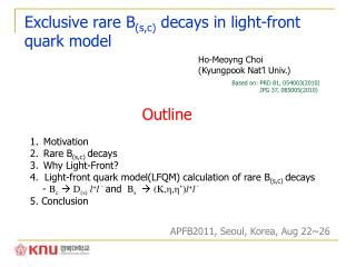 Exclusive rare B (s,c)  decays in light-front quark model