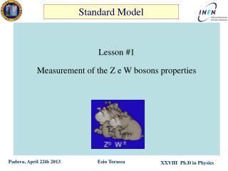 Lesson #1 Measurement of the Z e W bosons properties
