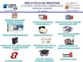BIBLIOTECA DE MEDICINA CITOLOGIA, HISTOLOGÍA Y EMBRIOLOGÍA GENERAL HUMANA (2º. Curso)