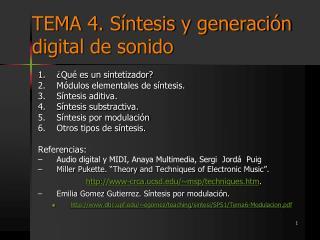 TEMA 4. S�ntesis y generaci�n digital de sonido