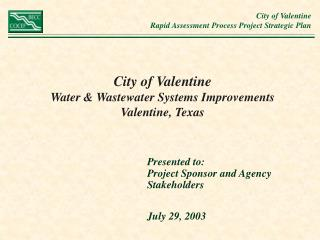 City of Valentine Water & Wastewater Systems Improvements  Valentine, Texas