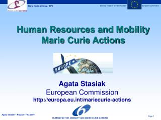 Human Resources and Mobility Marie Curie Actions