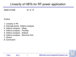 Linearity of HBTs for RF power application