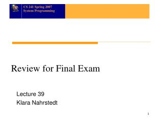 Review for Final Exam