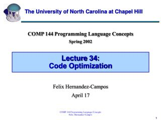 Lecture 34: Code Optimization