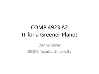 COMP 4923 A2 IT for a Greener Planet