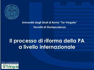 Il processo di riforma della PA a livello internazionale