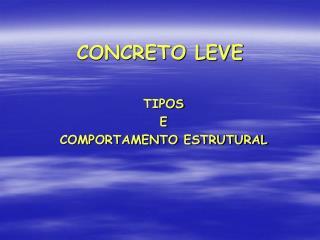 CONCRETO LEVE
