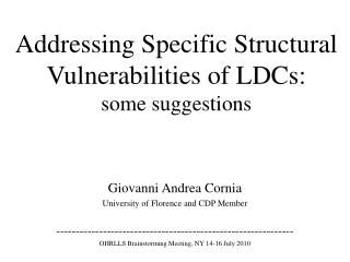Addressing Specific Structural Vulnerabilities of  LDCs: some suggestions