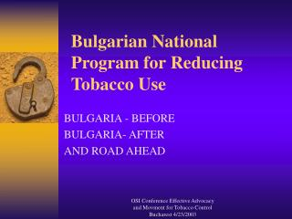 Bulgarian National Program for Reducing Tobacco Use