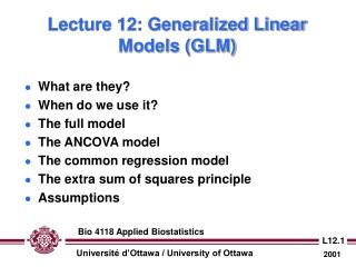 Lecture 12: Generalized Linear Models (GLM)