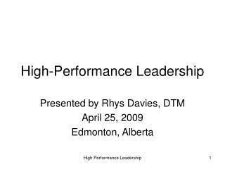 High-Performance Leadership