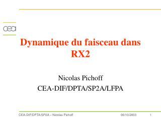 Dynamique du faisceau dans  RX2