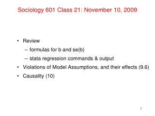 Sociology 601 Class 21: November 10, 2009