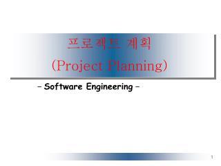 프로젝트 계획  (Project Planning)
