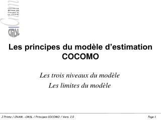 Les principes du modèle d'estimation COCOMO