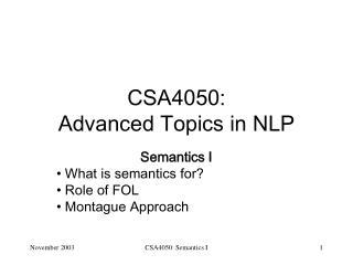 CSA4050: Advanced Topics in NLP