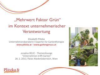 """""""Mehrwert Faktor Grün""""  im Kontext unternehmerischer Verantwortung Elisabeth Plitzka"""