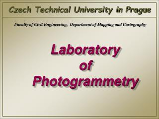 Laboratory  of Photogrammetry