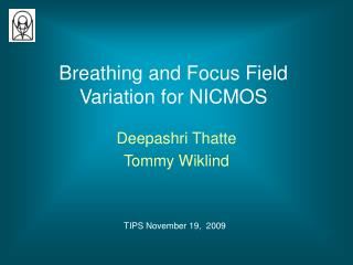 Breathing and Focus Field Variation for NICMOS