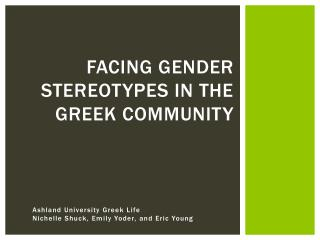 Facing  Gender Stereotypes in the Greek  Community