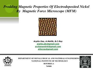 Prodding Magnetic Properties Of Electrodeposited Nickel By  Magnetic Force Microscope (MFM)