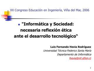 XX Congreso Educación en Ingeniería, Viña del Mar, 2006