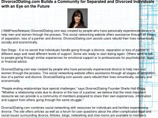 Divorce2Dating.com Builds a Community for Separated and Divo