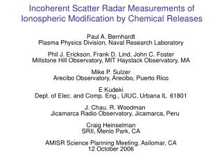 Incoherent Scatter Radar Measurements of Ionospheric Modification by Chemical Releases