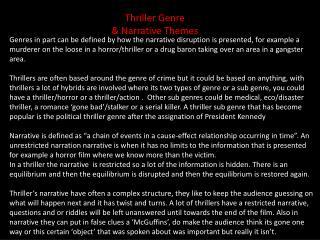 Thriller Genre & Narrative Themes