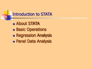 Introduction to STATA