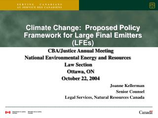CBA/Justice Annual Meeting National Environmental Energy and Resources  Law Section  Ottawa, ON