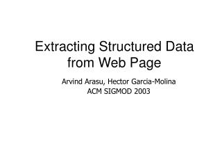 Extracting Structured Data from Web Page