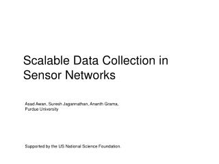 Scalable Data Collection in Sensor Networks