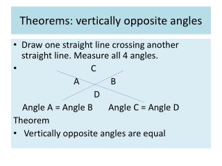 Theorems: vertically opposite angles