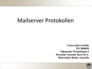 Mailserver Protokollen