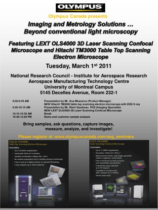Imaging and  Metrology  Solutions …  Beyond conventional  light  microscopy