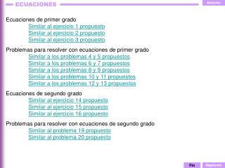Ecuaciones de primer grado Similar al ejercicio 1 propuesto Similar al ejercicio 2 propuesto