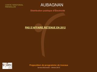 Proposition de programme de travaux Service Electricité – Année 2012